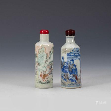 清青花釉里红粉彩人物鼻烟壶二只 Underglazed Blue and Copper Red and Famille Rose Figure Snuff Bottle Qing Dynasty(1636-1912)