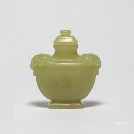 清和田黄玉双辅首鼻烟壶 A Chinese Yellow Jade Snuff Bottle Qing Dynasty(1636-1912)