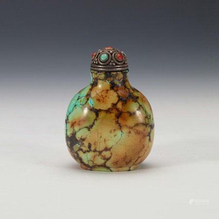 清早期绿松石圆形鼻烟壶 A Turquoise Chinese Snuff Bottle Early Qing Dynasty