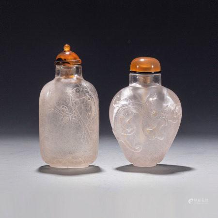 清水晶雕花鸟螭龙鼻烟壶二只 Two Chinese Crystal Flower & Bird Snuff Bottle Qing Dynasty(1636-1912)