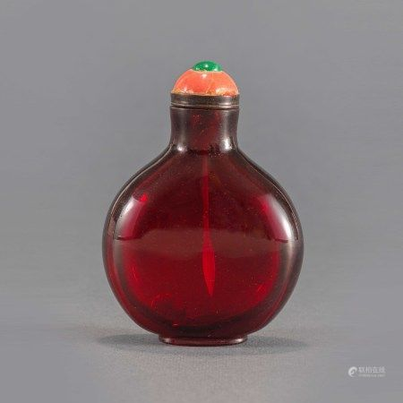 清乾隆宝石红料鼻烟壶 A Chinese Red Glass Snuff Bottle Qianlong Period(1736-1796)
