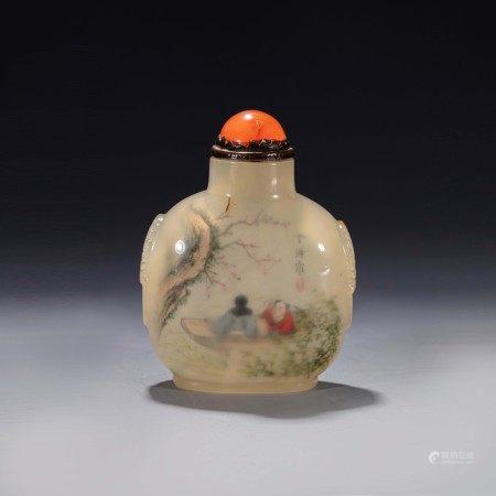 清玛瑙内画人物丁洪作鼻烟壶 An Inside Painted Figure Agate Snuff Bottle with Ding Hong Mark Qing Dynasty(1636-1912)