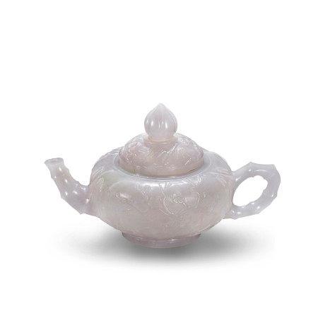 清18-19世纪天然冰种翡翠松竹梅壶 A Natural Jadeite Teapot Pine Bamboo Plum Qing Dynasty 18-19century
