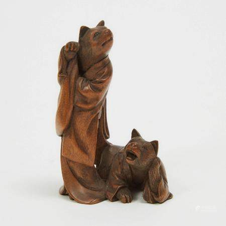 A Wood Netsuke of a Pair of Cats Dressed in Kimono, height 2.4 in — 6.2 cm
