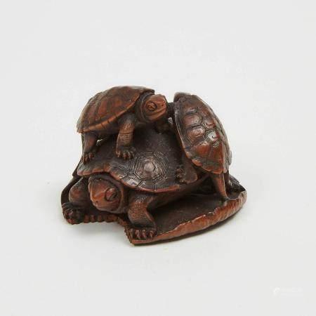 A Boxwood Netsuke of Turtles, Signed Bazan, 19th Century, 1.4 x 2 in — 3.6 x 5 cm