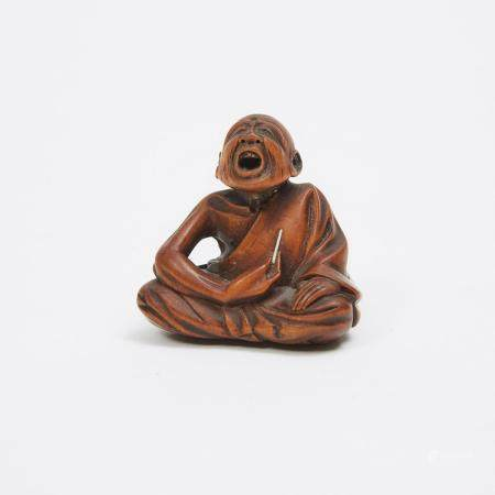 A Boxwood Netsuke of a Professional Sneezer, Signed Gyokkei, Mid-19th Century, 1.5 x 1.5 in — 3.8 x