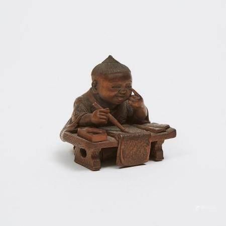 A Fine Wood Netsuke of a Boy, Signed Gyokuso, Early 20th Century, 1.3 x 1.3 x 1.1 in — 3.2 x 3.2 x 2