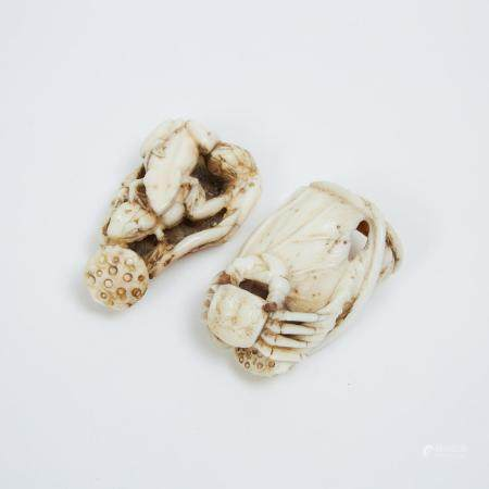 Two Antler and Ivory Carved Netsuke of a Crab and Frogs, Meiji Period, longest length 2 in — 5.1 cm