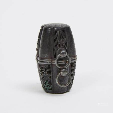 A Shakudo Metal Netsuke of a Barrel with Silver Fitting and Interior Compass, Meiji Period, height 1