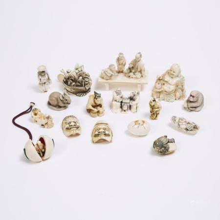 A Group of Sixteen Japanese Ivory and Bone Netsuke and Okimono, 19th/Early 20th Century, largest 3.1