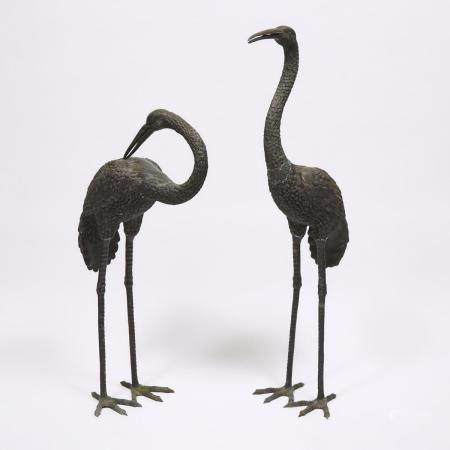 A Pair of Japanese Meiji-Style Bronze Cranes, tallest height 55.4 in — 140.7 cm (2 Pieces)