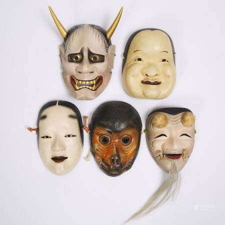 A Group of Five Japanese Noh Masks, tallest height 9.8 in — 25 cm (5 Pieces)