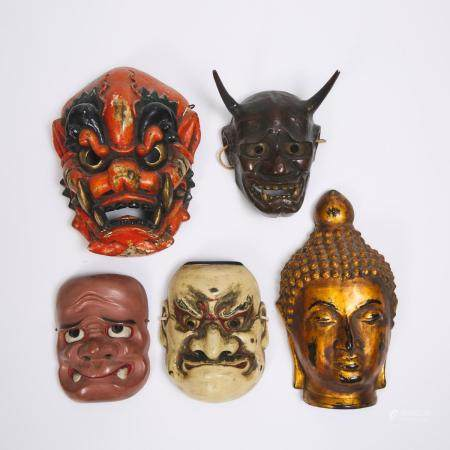 A Group of Five Japanese Masks, tallest height 13.4 in — 34 cm (5 Pieces)