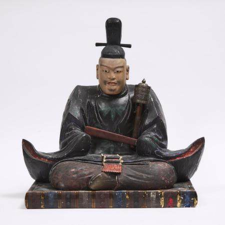 A Large Polychrome Wood Sculpture of a Shogun, overall 23.8 x 23.9 x 15.9 in — 60.5 x 60.8 x 40.3 cm