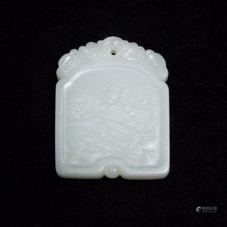 A White Jade Plaque of Two Fish, Qing Dynasty, 清 白玉「鱼水何耶」佩, 2.3 x 1.8 x 0.4 in — 5.8 x 4.6 x 0.9 cm