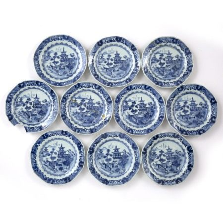 Group of ten blue and white export plates Chinese, 18th Century decorated with a central scene