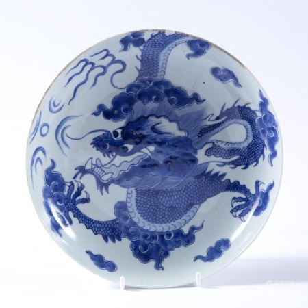 Blue and white porcelain saucer shaped bowl Chinese decorated in the Kangxi style, depicting a