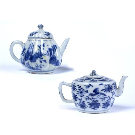 Two blue and white teapots Chinese, 17th Century the first of ribbed form decorated to the body with