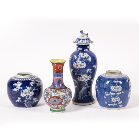 Two blue and white ginger jars Chinese, 19th Century decorated in prunus leaf decoration, with a