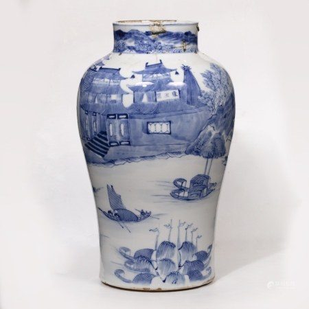 Blue and white jar Chinese decorated to the body with a river scene with boats and fishermen, 29.5cm