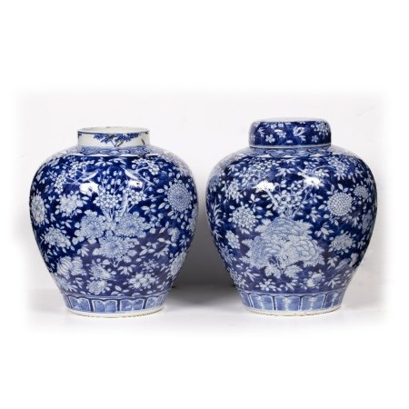 Pair of blue and white jars Chinese, 19th Century decorated citrus fruit (Buddhist hand) and