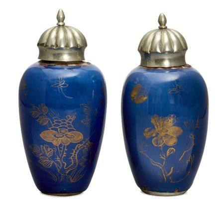 A pair of Chinese small powder blue ground vases, Kangxi period, painted in gilt with butterflies