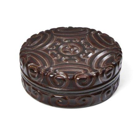 A Chinese tixi lacquer circular box and cover, Ming dynasty, 16th century, finely carved through