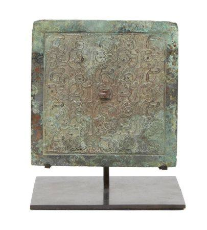 A Chinese bronze square mirror, Eastern Zhou/Warring States period, 5th/4th century BCE, finely cast