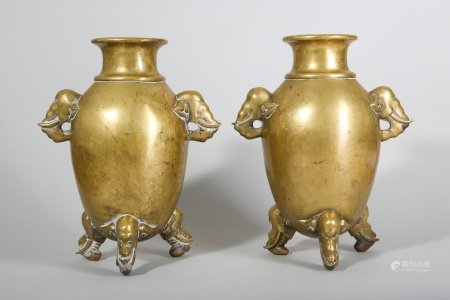 A PAIR OF CHINESE BRONZE 'ELEPHANT' VASES.