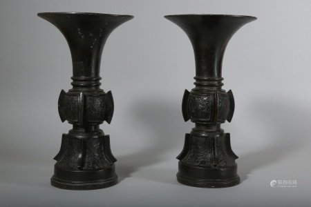A PAIR OF CHINESE BRONZE VASES, GU.