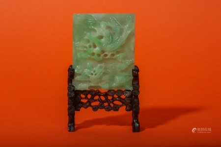 A CHINESE APPLE-GREEN JADEITE MINIATURE TABLE SCREEN.
