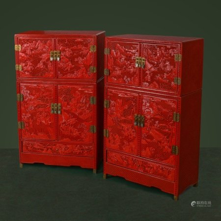 A PAIR OF MINIATURE CHINESE CINNABAR LACQUER CABINETS.