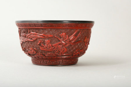 A CHINESE CARVED CINNABAR LACQUER 'BOYS' BOWL.