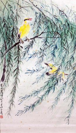 何海霞 两只黄鹂鸣翠柳