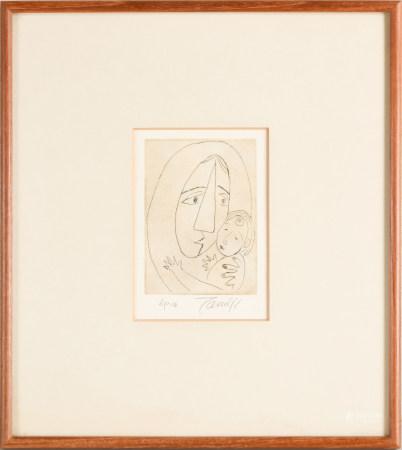 北川民次 母子像 銅版畫