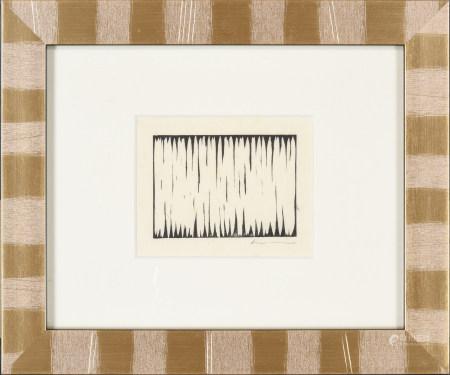 1978年 李禹煥 消減的場面 木版畫