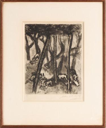 馬克•夏加爾 林中的狐狸 銅版畫