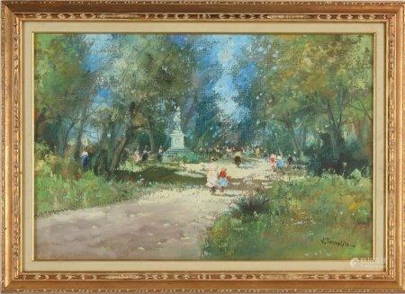 V.Tommasini 風景人物 油畫