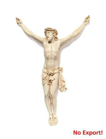 Exceptional large carved ivory corpus christi