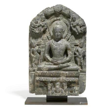Rare seated grey basalt Buddha