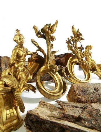 Pair of gilt bronze and iron andirons with sitting Chinese couple style Louis XV