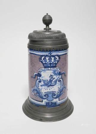 Ceramic tankard with prussian eagle in cartouche