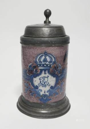 Ceramic tankard with monogramming 'Frederick Wilhelm Rex' in cartouche