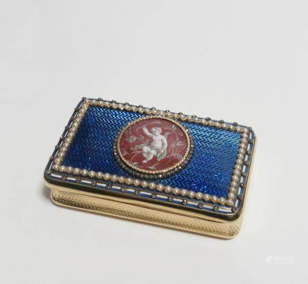 GOLD, ENAMEL AND SPLIT-PEARL-AND-DIAMOND-SET SNUFF-BOX WITH AMOR