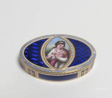 Oval snuff-box with depiction of mother with child made of gold, split-pearl-set and enamel