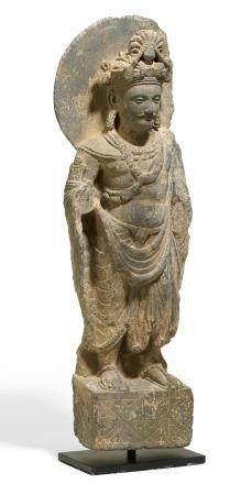 Rare and fine standing light grey schist Bodhisattva