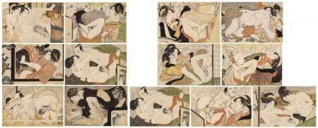 "13 prints of the shunga series ""Fumi no kiyogaki"""