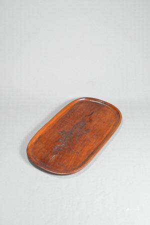 小松山人款 木刻百財紋橢圓形茶盤