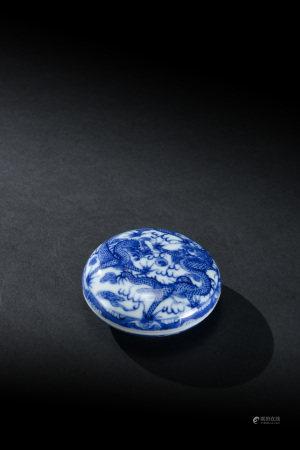 清代 青花二龍戲珠紋印泥盒