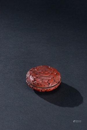 明代 剔紅牡丹紋香盒